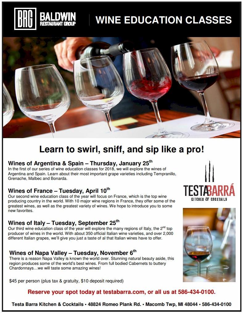 Wine Education Classes - Testa Barra